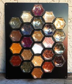 """Magnetic Spice Rack filled with Organic spices (your choice) Kit.  Includes a 10""""x12"""" metal plate (black, white or silver).  FREE SHIPPING"""