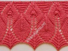 Knitting pattern: mixed edge 2 (pattern - maomao - my heart action Knitting Stiches, Knitting Charts, Lace Knitting, Knitting Patterns, Crochet Patterns, Knitting Designs, Knitting Projects, Lace Patterns, Stitch Patterns