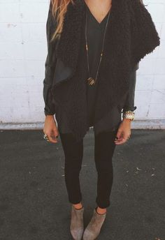 Black on Black | Outfit with oversized shirt, shearling vest, and leggings | Via: syvende