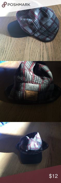 Boys fleece hat with bill Boys fleece hat black, red, and charcoal grey. Very warm ear covers can snap up. Boys size S/m which would fit 3-6 best. Like New. GAP Accessories Hats