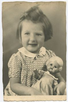 Child Girl with her celluloid Doll original old 1950s photo postcard