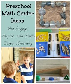 The coolest ideas for a preschool math center - and they are so simple! Love that they get kids thinking out of the box.