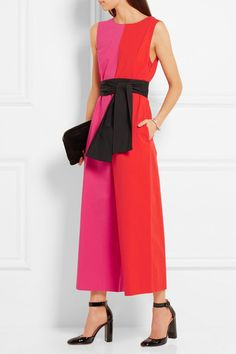 Fuchsia, red and black cotton-blend  Concealed hook and zip fastening at side 97% cotton, 3% Lycra  Dry clean Made in the UK