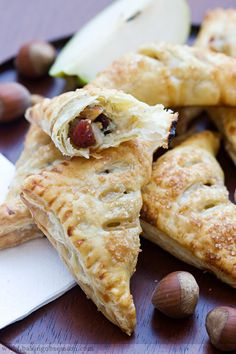 Pear Cranberry and Gorgonzola Turnovers. This would be good with white wine.  Mmmmmm