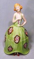 """Vintage Bavaria Porcelain Art Deco 8"""" Lady Figural Dresser Powder Jar - Nice!"""
