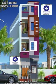 Our 4 BHK duplex floor house plans are elegant and luxurious to match your lifestyle. House Outer Design, Modern Small House Design, House Outside Design, House Front Design, 3 Storey House Design, Duplex House Design, Residential Building Design, Narrow House Plans, House Design Pictures