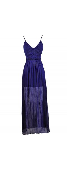 Lily Boutique Make An Entrance Crochet Lace Open Back Maxi Dress in Royal Blue, $48 www.lilyboutique.com