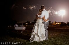 Bride and Groom Fireworks Wedding Day  - Timeless Wedding Photographer - Sassy Mouth