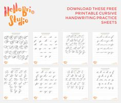 Download these free printable cursive handwriting practice sheets to help improve your handwriting, hand lettering, and calligraphy