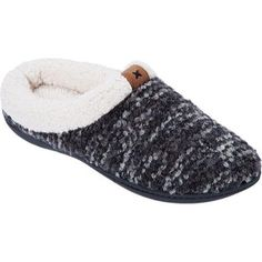 The loopy texture and subtle shading of our bouclé knit have rustic charm. To complete the woodsy look, we trimmed these clog slippers with plush faux shearling and a well-placed microsuede patch.