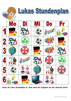 Harry´s timetable - ESL worksheet by Vocabulary Worksheets, Comprehension Questions, Easy Workouts, Projects For Kids, This Or That Questions, German, Activities, German Language, Class Schedule