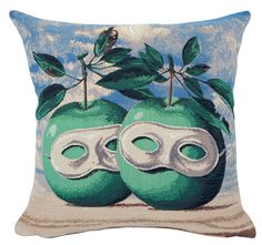MAGRITTE - MODERN ART TAPESTRY DECORATIVE PILLOW LE PRETRE MARIE (painted in 1961)