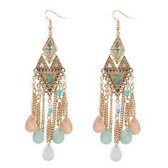 Bohemian Fashion Jewelry Long Earrings Accessories Vintage Gold Irregular Triangle Acrylic Beads Drop Earrings For Women
