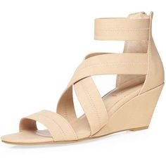 Dorothy Perkins Nude 'Vixen' Elastic Wedges (32.765 CLP) ❤ liked on Polyvore featuring shoes, sandals, nude, low heel wedge shoes, nude sandals, wedge heel sandals, low wedge shoes and low heel wedge sandals