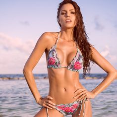 Feel fun, flirty and floral as you strut your stuff in the Acapulco Triangle Bikini.This gorgeous two piece provides just the right amount of coverage to splash, swim, or sunbathewithout worry. Beach Covers, Triangle Bikini, Swimsuits, Swimwear, Resort Wear, Aqua Blue, Summer Beach, Bikini Girls, Beachwear