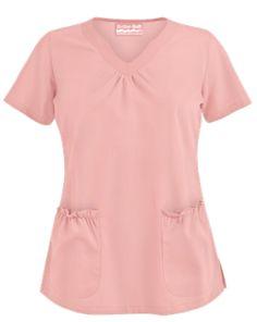 Butter-Soft Scrubs by UA™ Scallop Neck Top Style # UAS965C #uniformadvantage #uascrubs #adayinscrubs #tops #pinktops #scrublife #scrubtop #pantone2016 #pink #girly
