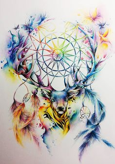 Kolorowo by chemicznaxd on DeviantArt Dream Catcher Drawing, Dream Catcher Tattoo, Dream Catcher Mandala, Art Drawings Sketches, Animal Drawings, Animals Tattoo, Dreamcatcher Wallpaper, Deer Art, Art Graphique