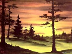 Peaceful Landscape Paintings by Bob Ross  - Bob Ross  Landscape Paintings : Evergreens at sunset  25