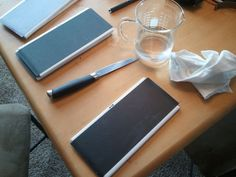 DIY Knife sharpening kit, bathroom tiles + sand paper
