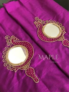 Ideas Embroidery Blouse Pattern Mirror Work For 2019 Mirror Work Saree Blouse, Mirror Work Blouse Design, Patch Work Blouse Designs, Maggam Work Designs, Simple Blouse Designs, Silk Saree Blouse Designs, Blouse Neck Designs, Neckline Designs, Handmade Embroidery Designs