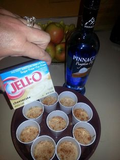 Pumpkin Cheescake Shots ~ 1/2 Cup Pinnacle pumpkin pie vodka 1 package cheesecake jello (i used sugar free) 2/3 cup of milk (can't use soy milk or it won't set) 1/8 tsp each of cinnamon, ginger and nutmeg 1/4 tsp butter flavored extract mix well and pour into individual cups. sprinkle with cinnamon for garnish. will set up in the fridge within an 30 minutes.