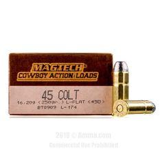 Magtech 45 Long Colt Ammo - 50 Rounds of 250 Grain LFN Ammunition #45LongColt #45LongColtAmmo #Magtech #MagtechAmmo #Magtech45LongColt #LFN #CowboyActionLoads