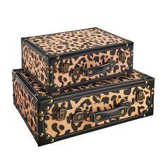 Leopard Print Wooden Decorative Suitcase Box Set   Pier 1 Unique Home Decor, Home Decor Items, Ups Delivery, File Organiser, Pier 1 Imports, Trinket Boxes, Decorative Items, Suitcase, Cheetah