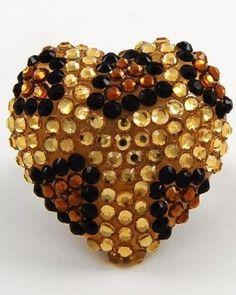 $16.99 Leopard Bling Heart Shaped Handmade Crystal & Rhinestone Size Free Adjustable Ring by Jersey Bling: Jewelry: Amazon.com  www.jerseybling.net