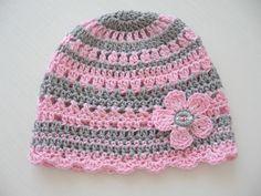 Čepička (40 - 43) Háčkovaná čepička, obvod 40 - 43 cm, na léto, lehká, vzdušná, barva růžová + šedá, vyrobeno ze 100% bavlny