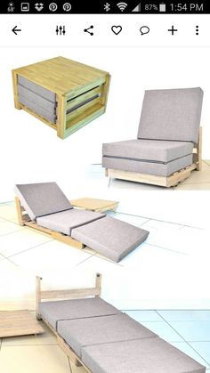 Four way bed, lounge, chair, ottoman