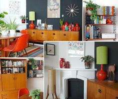 The grey wall, red and green contrast, coupled with the mid century furniture is really appealing to me.