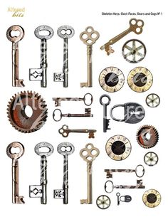 skeleton keys, clock faces, gears and cogs digital collage sheet $3.00