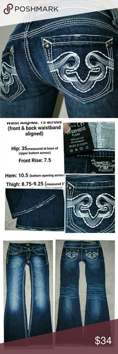 EXPRESS REDROCK FLARE LOW RISE DENIM JEANS 2 26 32 inseam Express Jeans Flare & Wide Leg