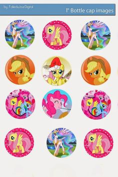 """My Little Pony Free 1"""" inch digital bottle cap images          - You can print and use them for your art project, Stickers, Hair Bow Cent..."""