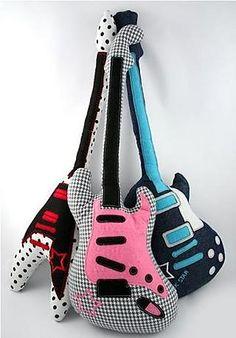 guitar pillows - Home Decorating DIY Sewing Pillows, Diy Pillows, Decorative Pillows, Cushions, Candy Pillows, Sewing Toys, Sewing Crafts, Sewing Projects, Music Decor