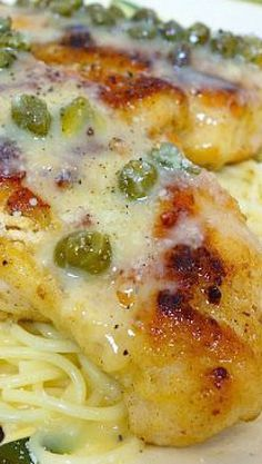 Chicken in Lemon Butter Caper Sauce (replace flour and use zoodles) Yum!