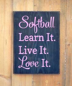 Softball Quote Sign - Customize Colors - Girls Room Wall Decor - Baseball Softball Wood Sign Sports Player Softball Gift Ideas