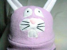 Lavender Snow Bunny Reversible Hand Made Warm Fleece Winter Hat   Wyverndesigns - Accessories on ArtFire
