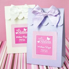 The Candy Bar Wrapper - Candy Boxes- Sweet Sixteen or 15 (Set of 12), $14.00 (http://www.thecandybarwrapper.com/sweet-shoppe-candy-boxes-sweet-sixteen-or-15-set-of-12-.html)