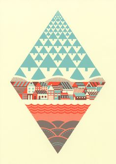 Creative Geometric, Waterfrontier, Andrew, Holder, and Illustration image ideas & inspiration on Designspiration Vector Design, Vector Art, Design Art, Cover Design, Graphic Design Inspiration, Creative Inspiration, Graphic Design Illustration, Illustration Art, City Poster