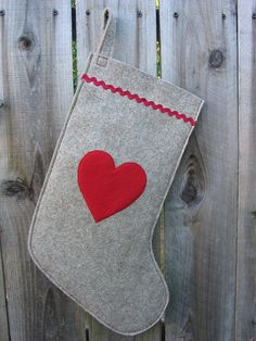 Wool Felt Ecofelt Christmas Stocking Red Heart by echoshop on Etsy, $40.00