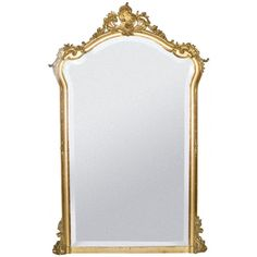 19th c. Rococo Louis Quinze gold gilded mirror | From a unique collection of antique and modern wall mirrors at http://www.1stdibs.com/furniture/mirrors/wall-mirrors/