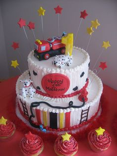 Fire Truck & Dalmations Birthday Cake (with accent cupcakes) | Shared by LION