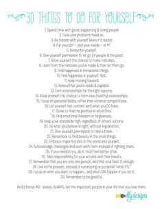 30 things to do for yourself