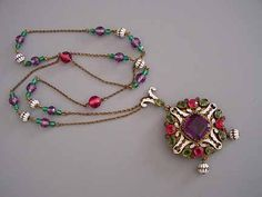 """AUSTRO-HUNGARIAN enameled pendant with purple, red and green glass beads and rhinestones. See Austro-Hungarian jewelry in Carole Tanenbaum's """"Fabulous Fakes"""" on page 17"""