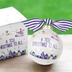 Show your team spirit with our Santa's a TCU Fan Glass Ornament. Each ornament is perfectly packaged with a matching gift box and coordinating tied ribbon for easy gift giving and safe storage.