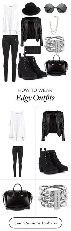 """Rocker chic . This edgy look is perfect for fall"" by liyaalston on Polyvore featuring Boohoo, Givenchy, Michael Kors, French Connection, Letitia, Call it SPRING, Eugenia Kim and BaubleBar"