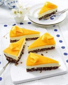 Smoothie-Käsekuchen mit Mango-Guss und Puffreisboden Rezept