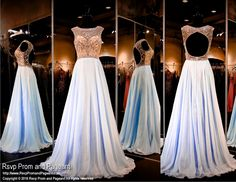 Dance the night away in this gorgeous baby blue chiffon prom dress with its high neckline completely covered with sparkling crystals. The open back complete this fun and flirty look. Beautiful and it's at Rsvp Prom and Pageant, your source for the hottest 2016 Prom Dresses!