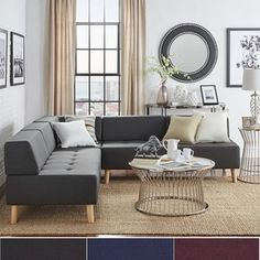 MID-CENTURY LIVING Soto Modern Upholstered Modular Sectional Seating